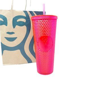 Starbucks Iridescent Neon Hot Pink Studded Tumbler